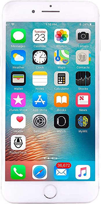 Apple iPhone 8 Plus, 64GB, Silver - Fully Unlocked (Renewed)