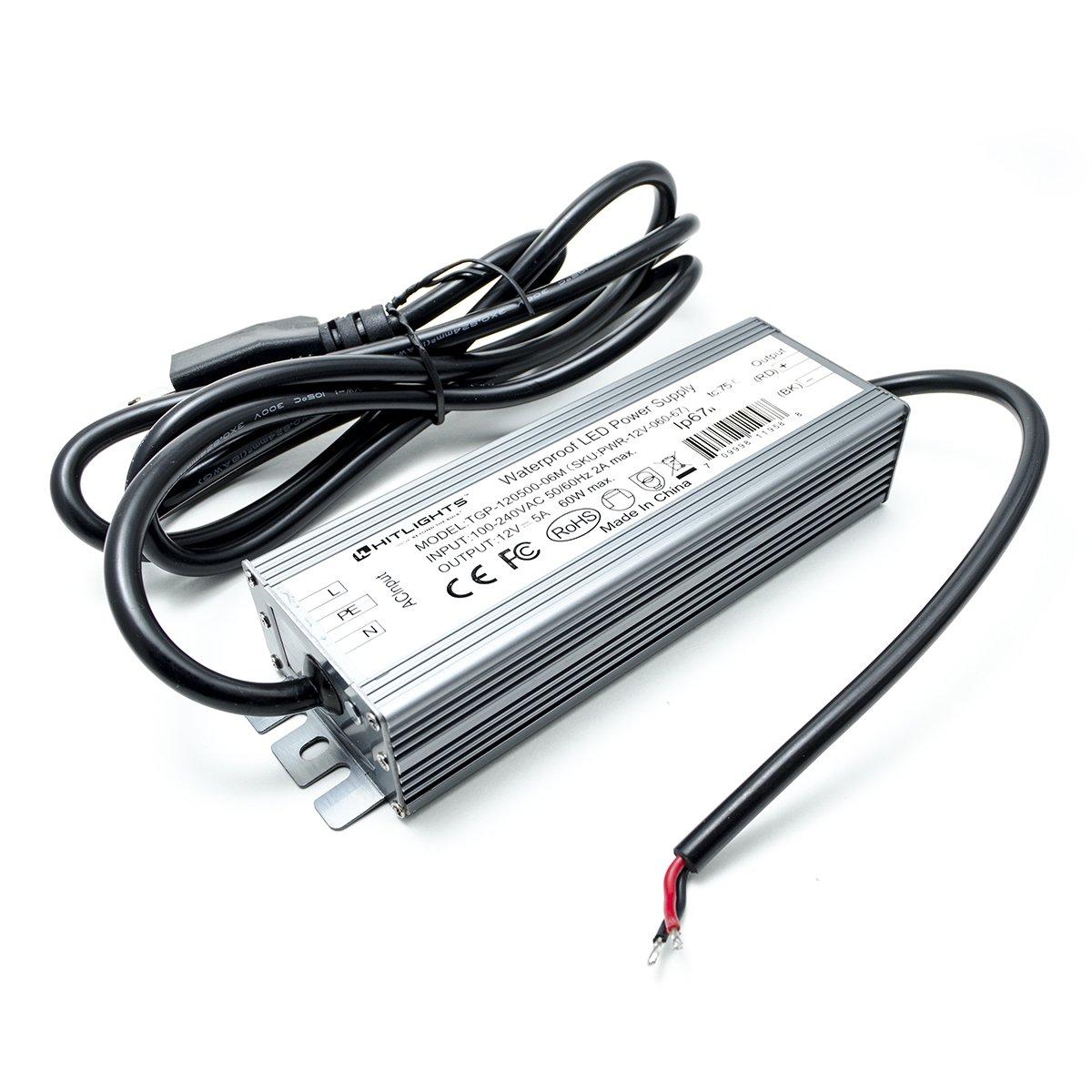 Hitlights 60 Watt LED Light Strip Power Supply, Waterproof - 5 Amps, 110V AC - 12V DC Transformer/Driver