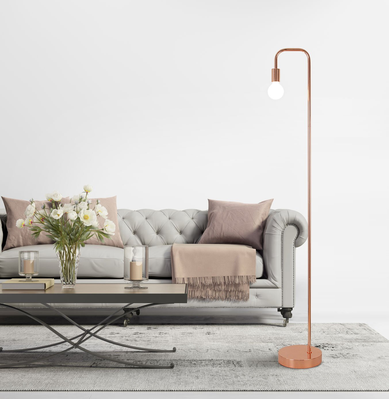 Floor Lamp for Living Room, Industrial Rose Gold Metal Reading Lamp ...