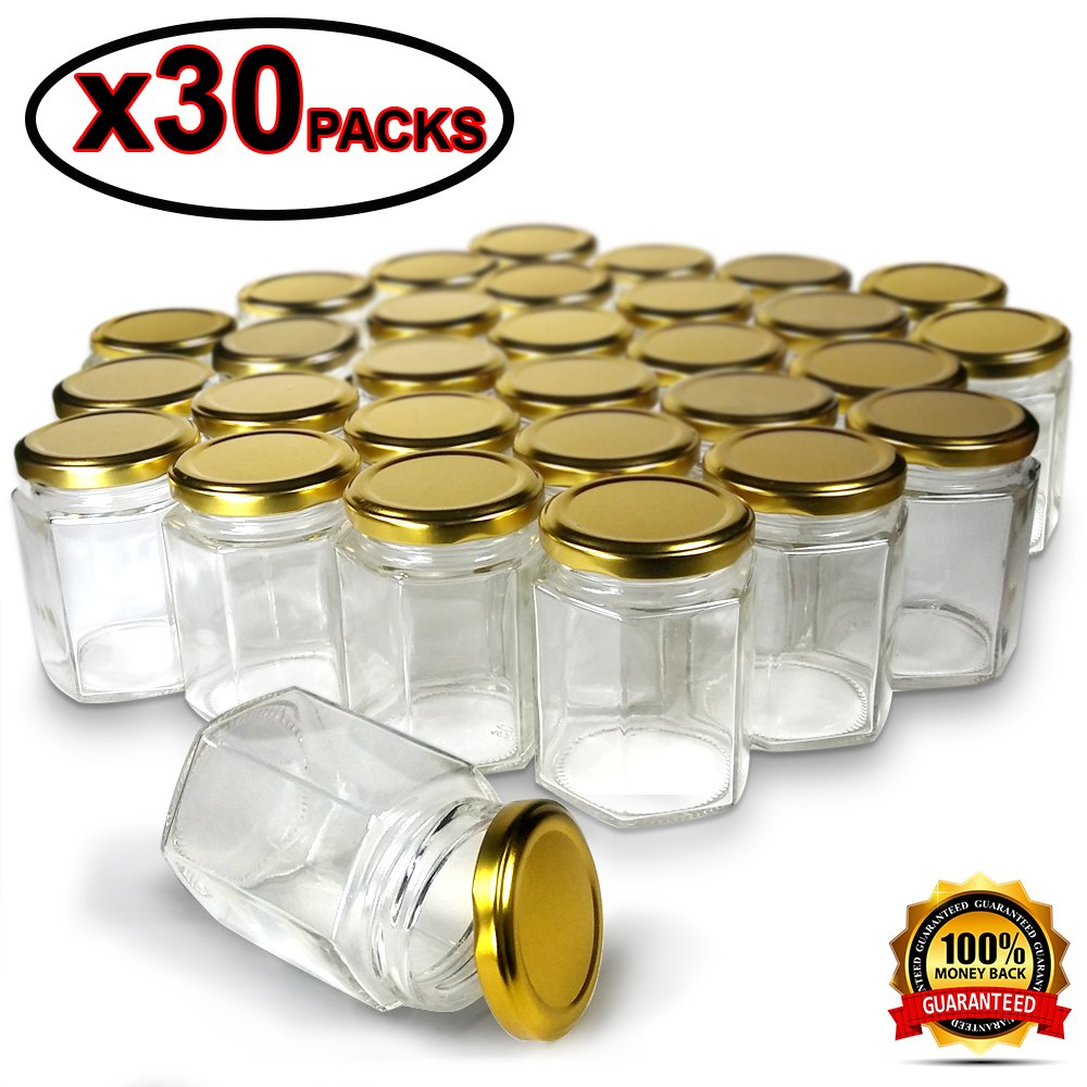 Hexagon Jars Gold Lid (30pcs 4.0 oz) Hexagon Glass Jars with 30pcs Gold Plastisol Lined Lids for Jam Honey Jelly Wedding Favors Baby Shower Favors Baby Food DIY Magnetic Spice Jars Crafts Canning Jars