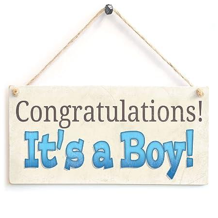 Felicidades es un niño! - de madera regalo del bebé: Amazon ...