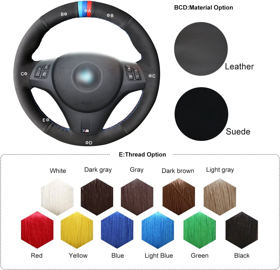MEWANT DIY Customized Hand Stitch Black Real Leather Black Suede Car Steering Wheel Cover for BMW 1 Series E81 E82 E87 E88 2008-2013//3 Series E90 E91 E92 E93 2006-2011 M3 E90 E92 E93 2008-2013
