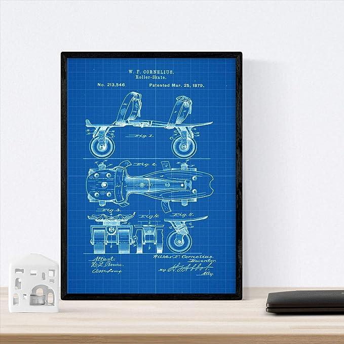 Nacnic Poster con Patente de Patin. Lámina con diseño de Patente ...