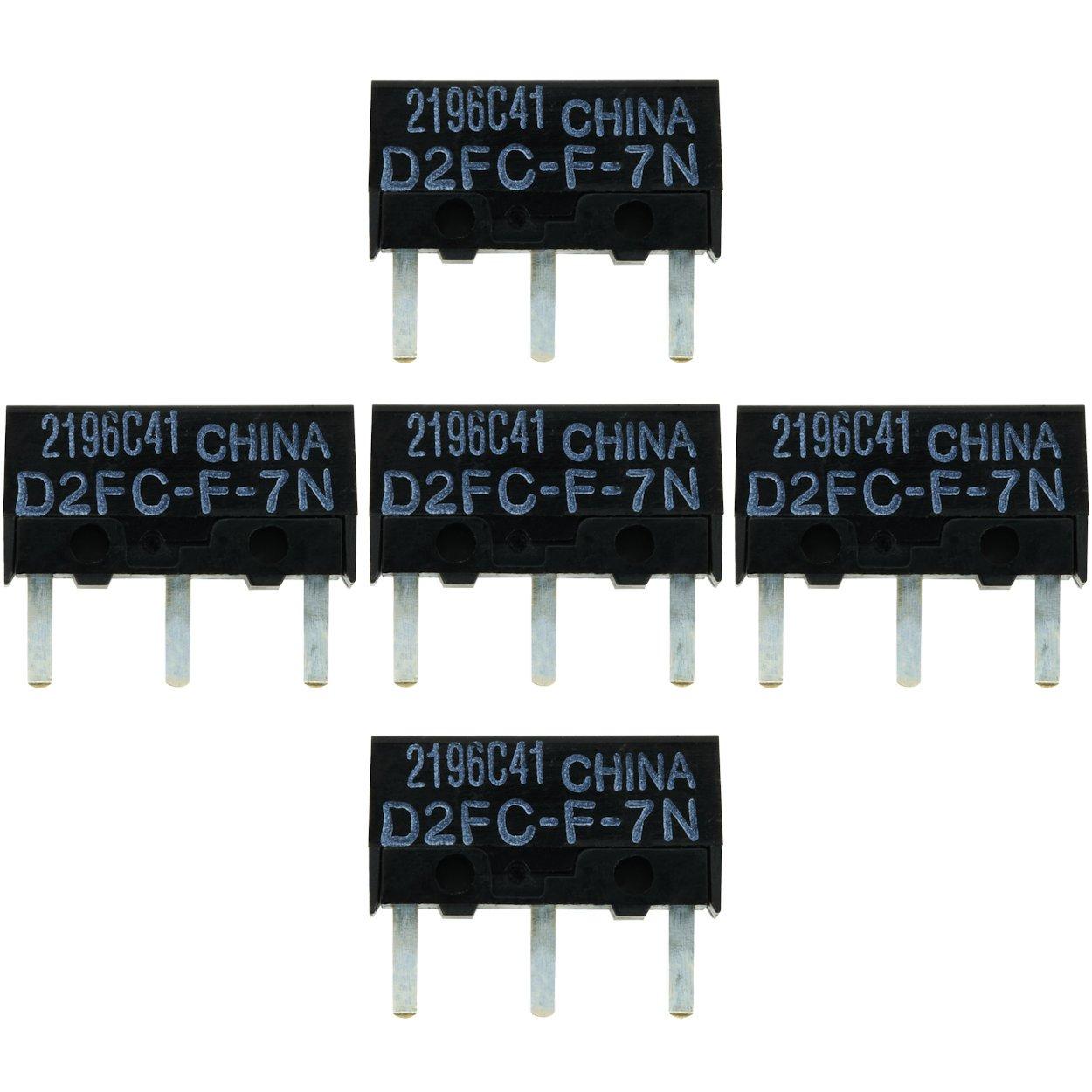 5x OMRON D2FC-F-7N (20M) Kit de Reparación de Microinterruptor / Kit de Reparación apropiado para mouse de computadora de Logitech, Razer, Roccat, ...