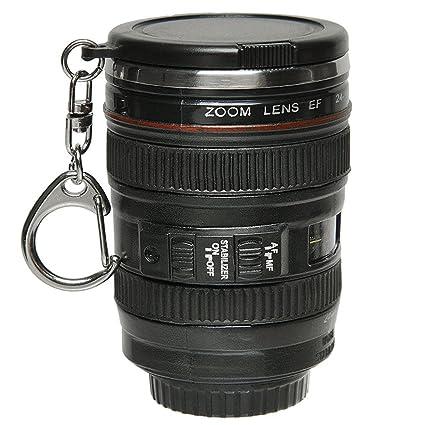 Gosear Mini cámara Lente Copa 24-105mm café té Viaje Taza Termo de Acero Inoxidable w/Llavero Llavero Portable