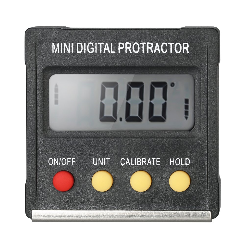 Walmeck Digital Protractor Inclinometer Level Meter with 4 x 90 Degree Range + Magnetic Base for Miter Saw Woodworking DIY Automobile Test Repair