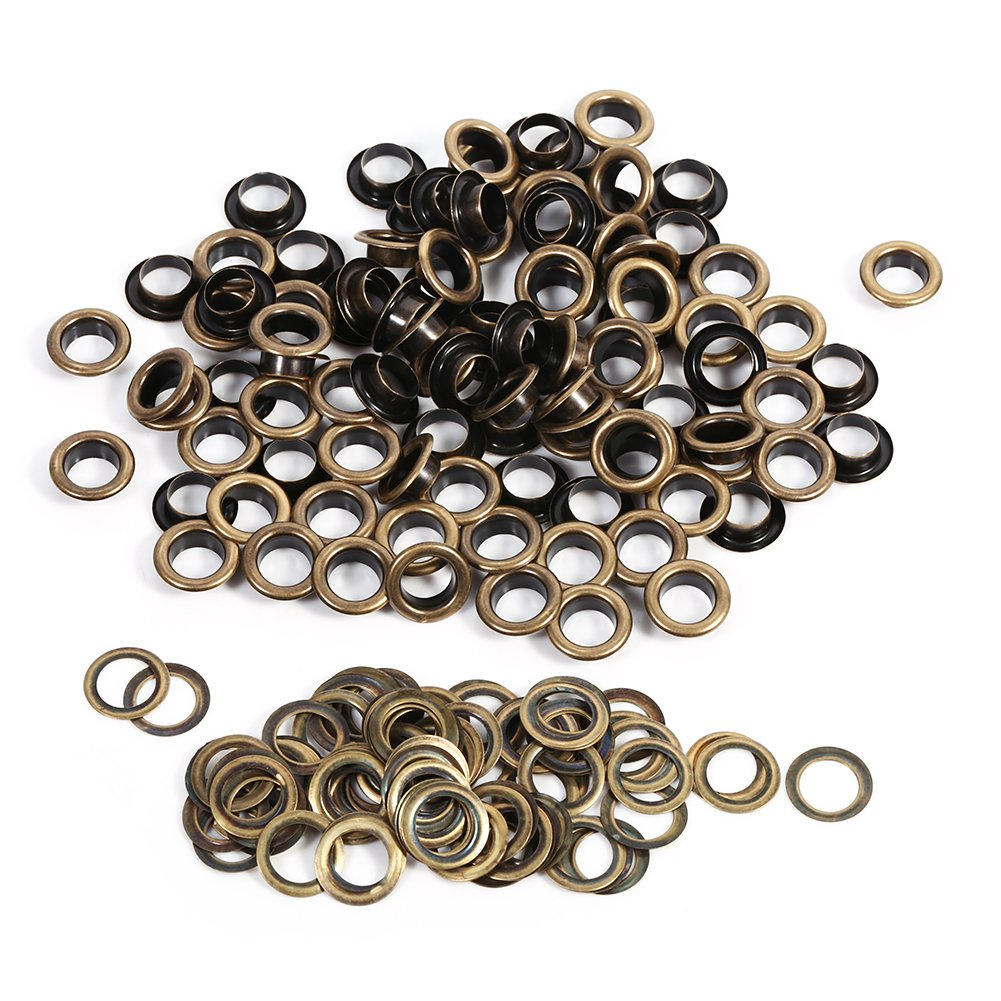 ZJchao Eyelet Grommets, 100 Sets Antique Brass Round DIY Grommets Washers for Leather Canvas Clothes Belts Shoes Crafts(12mm) by ZJchao
