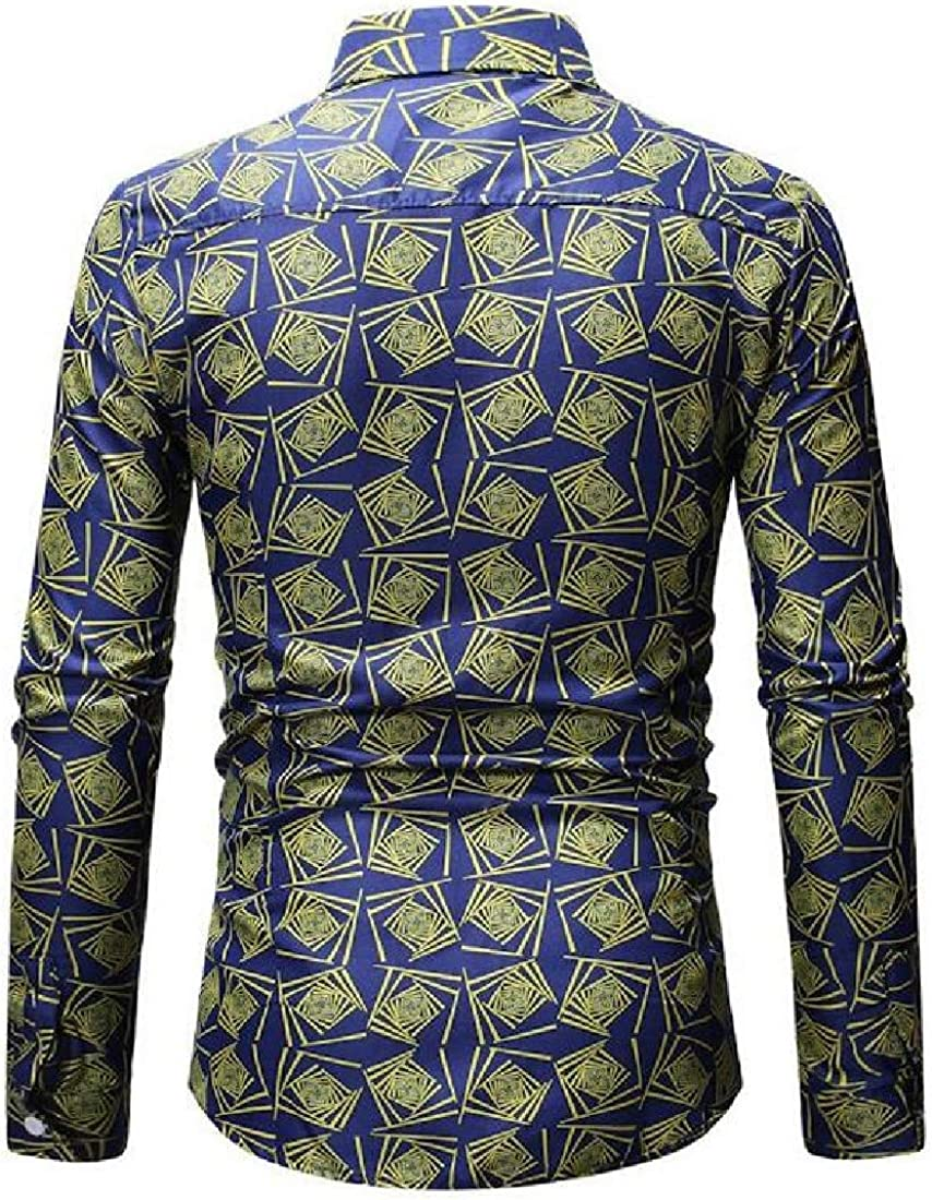 GenericMen Long Sleeve Slim Floral Shirt Casual Button Down Dress Shirts