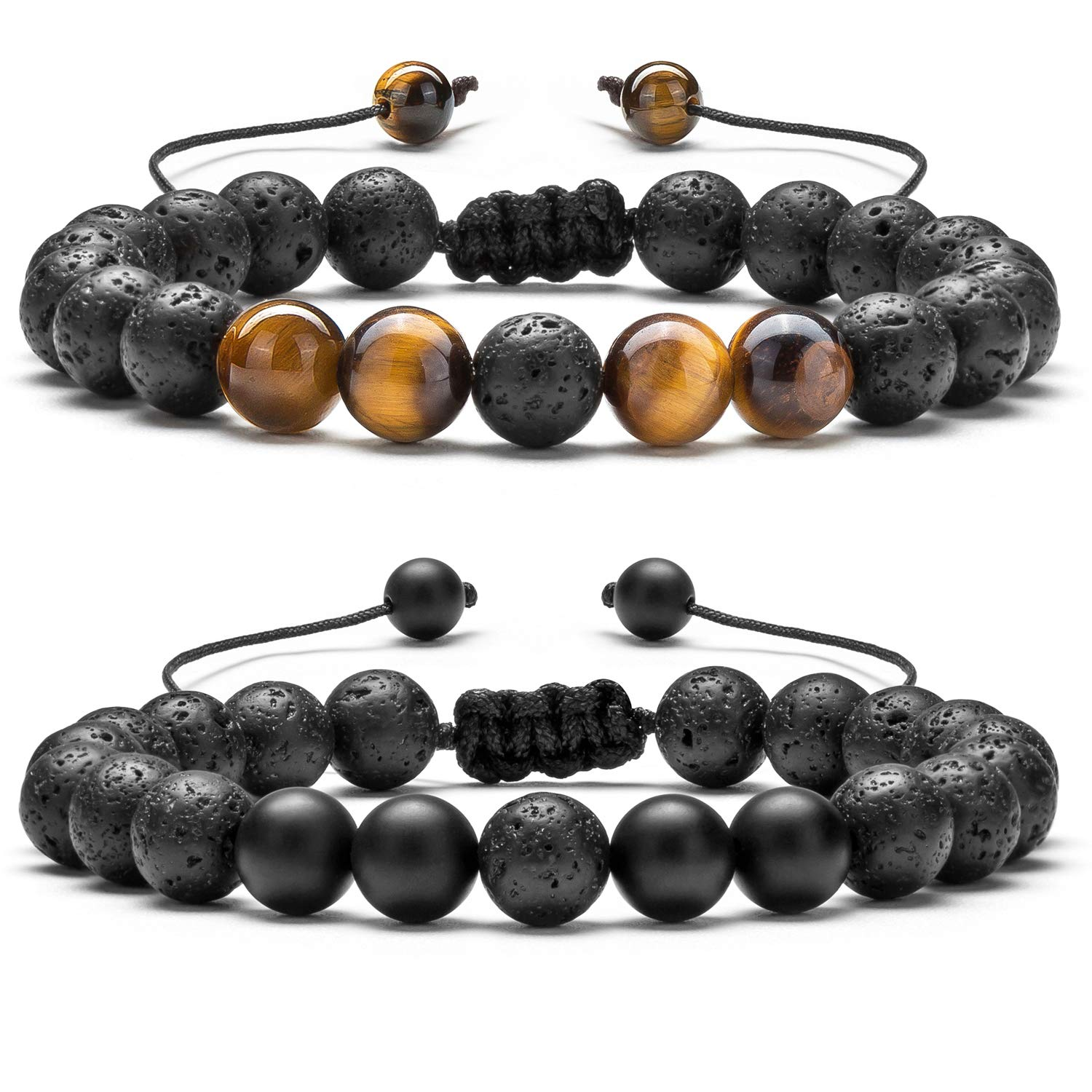 B07H7F6QDN Hamoery Men Women 8mm Lava Rock Aromatherapy Anxiety Essential Oil Diffuser Bracelet Braided Rope Natural Stone Yoga Gifts Beads Bracelet Bangle-21017 71dBBl8TzPL