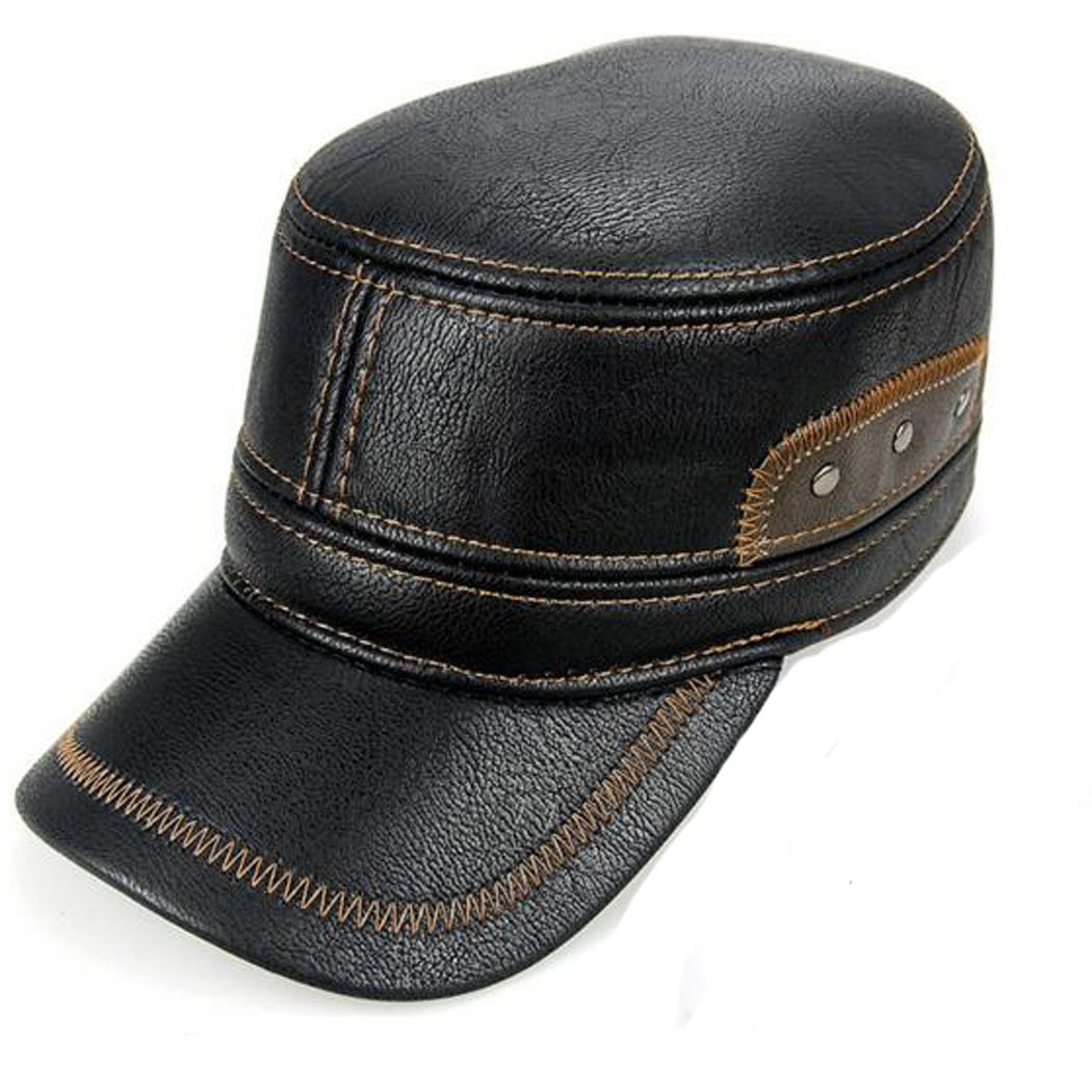 Hibelief Men Baseball Caps Winter Leather Visor Hats Retractable Earmuffs  (Black) at Amazon Men s Clothing store  df4a5902782