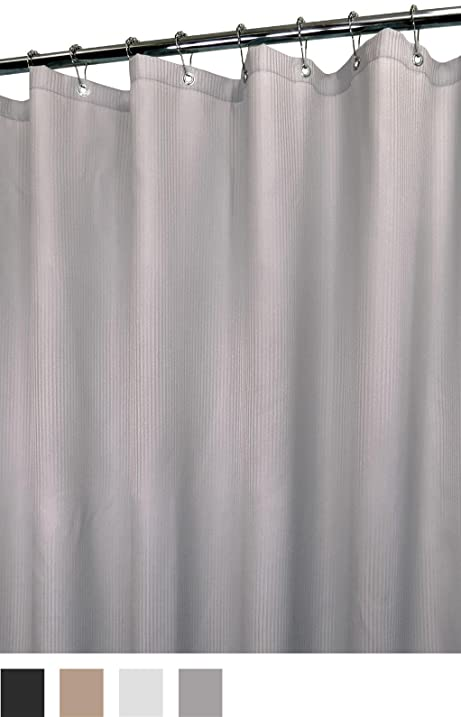 Park B Smith Mini Satin Stripe Shower Curtain Antique Silver