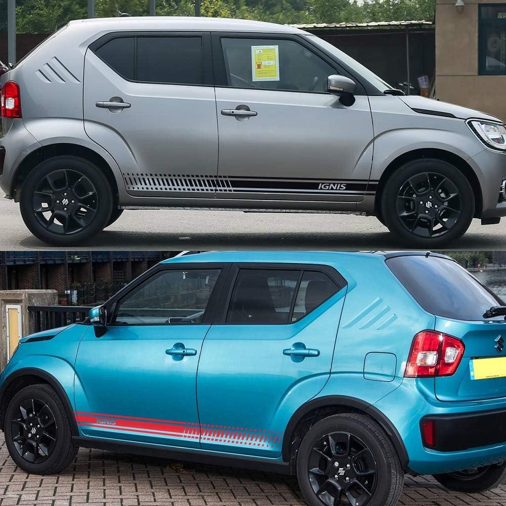 XHULIWQ 2PCS Autot/ür Seitenrock Streifen Aufkleber Aufkleber Reflektierende Autozubeh/ör F/ür Suzuki Ignis