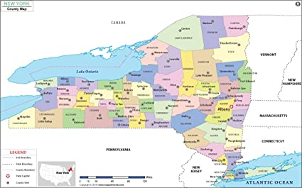 Amazon Com New York County Map 36 W X 22 44 H Office Products