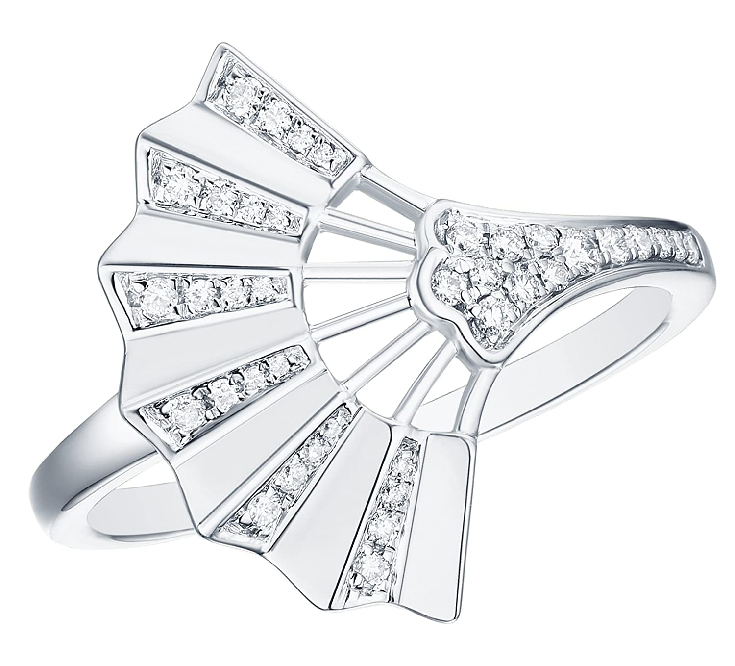 Prism Jewel 0.15Ct Round G-H//I1 Natural Diamond Hand Fan Style Ring 10k Gold