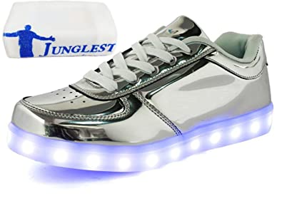 (Present:kleines Handtuch)Gold EU 41, Turnschuhe Schuhe Ladegerät 7 Herren Luminous USB Trainer Farben Paare Sports Leuchten Unisex