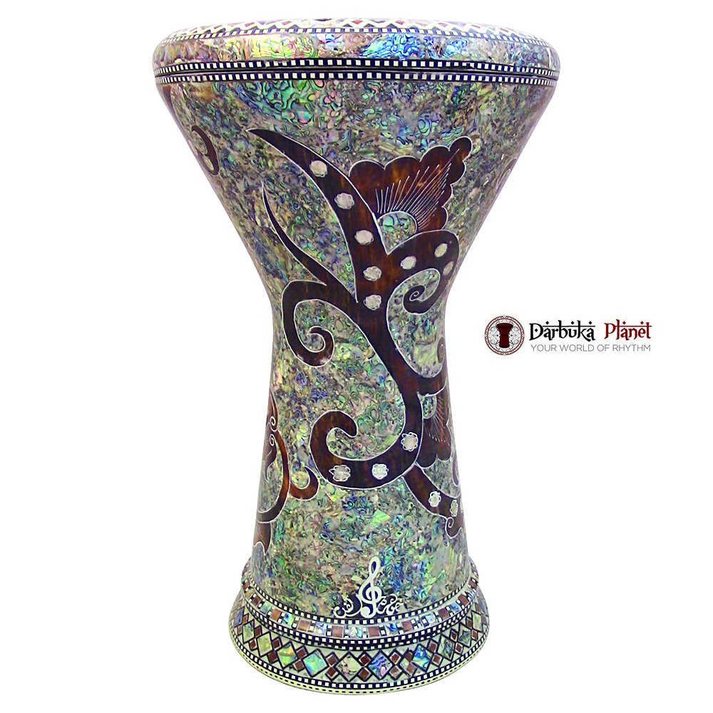The''Magic Garden'' Gawharet El Fan 18.5'' Darbuka Doumbek Drum Sombaty Size With Real Blue Mother of Pearl