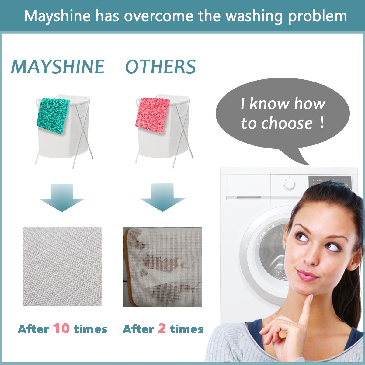 Mayshine Bath mats for Bathroom Rugs Non Slip Machine Washable Soft Microfiber 2 Pack (20×32 inches, Turquoise) by MAYSHINE (Image #6)