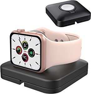 TiMOVO Charger Stand Compatible with Apple Watch, Cable Management Carrying Case Storage Cover Portable Charging Station Dock Fit iWatch Series 6/SE/5/4/3/2/1 (44mm/42mm/40mm/38mm), Black