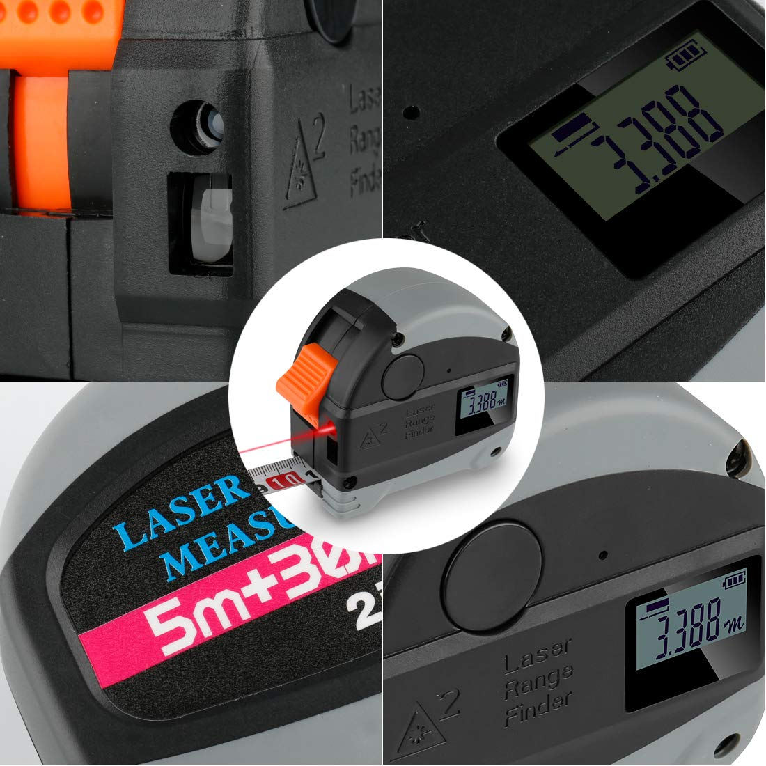 Ameter 2 in 1 Tpae Measurement Tools- Tape Measure 5m/16ft With Rechargeable laser line Digital Distance Measure 30m/98ft With LCD Display metric,inches, foot Electronic Tape Measuring Tool by Ameter (Image #8)