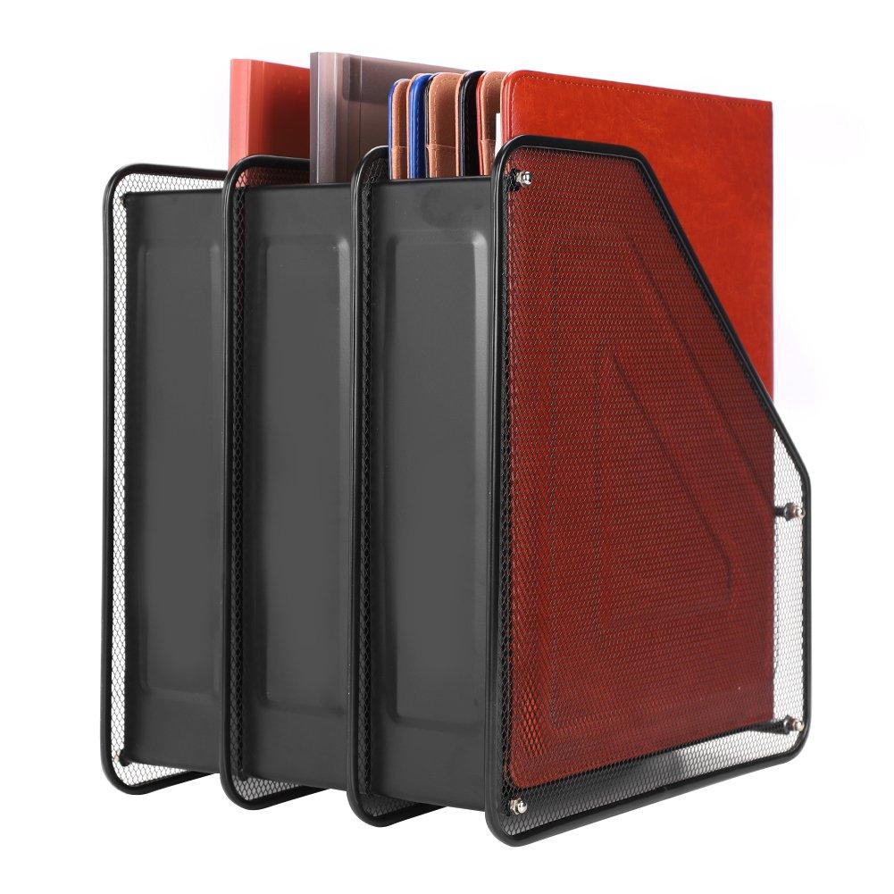 Organizador, 4 compartimentos, para estantería, malla metálica, bandeja para documentos, papeles A4, CD, libros, etc., color 3 Compartiments*Noir ...