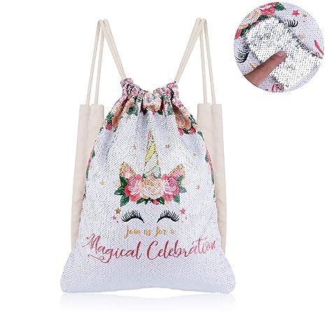 3d090ea5a5a2 Xiaowli Unicorn Sequin Drawstring Backpack Mermaid Sequin Bag Magic  Reversible Glittering Bag Unicorn Gift for Girls Boy (C Unicorn 2 - Silver  ...