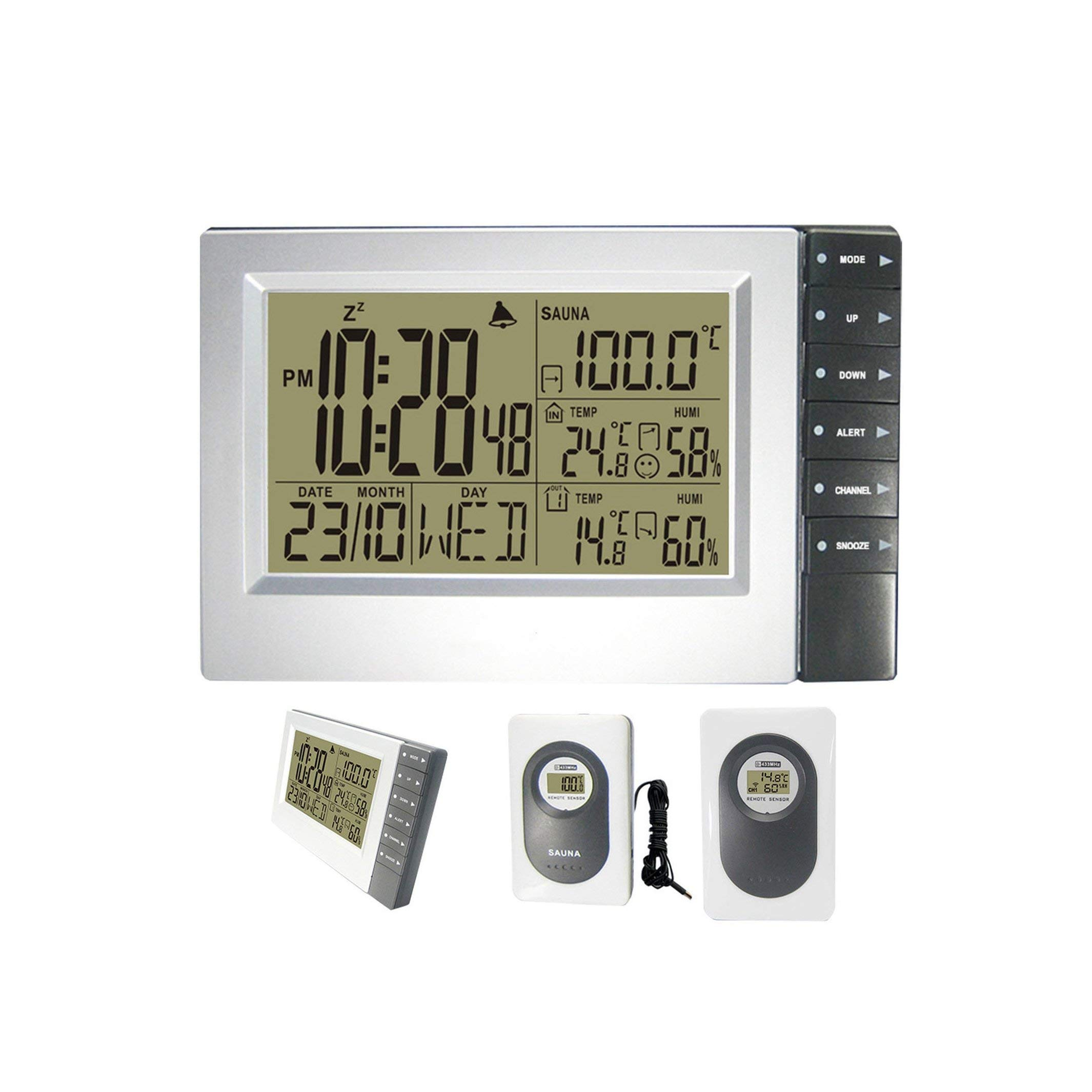 Digital Wireless Weather Station with Indoor Outdoor Thermometer Hygrometer Digital Sauna Temperature Alarm Clock 4 Transmitters,Two Transmitters
