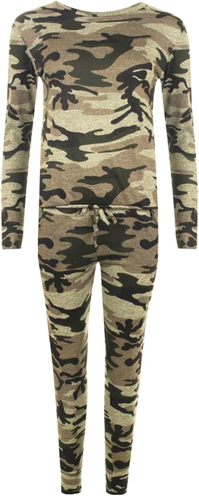 WearAll Mujer Coord Elástico Estampado Camuflaje Militar Chándal ...
