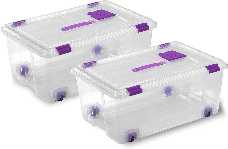 TODO HOGAR Cajas Almacenaje Plastico Grandes Multiusos con asa y Ruedas Natural -585x390x250-42 litros (2)