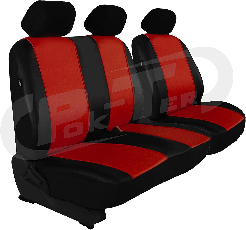 Modellspezifischer Sitzbezug Fahrersitz 2er Beifahrersitzbank 1+2 POK-TER-BUS F/ür T6 in Kunstleder Schwarz Ohne Multivan und Ohne Caravelle