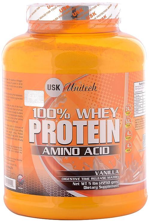USK Unitech 100% Whey Protein Amino Acid Powder- Vanilla, Yellow, 2250 Grams