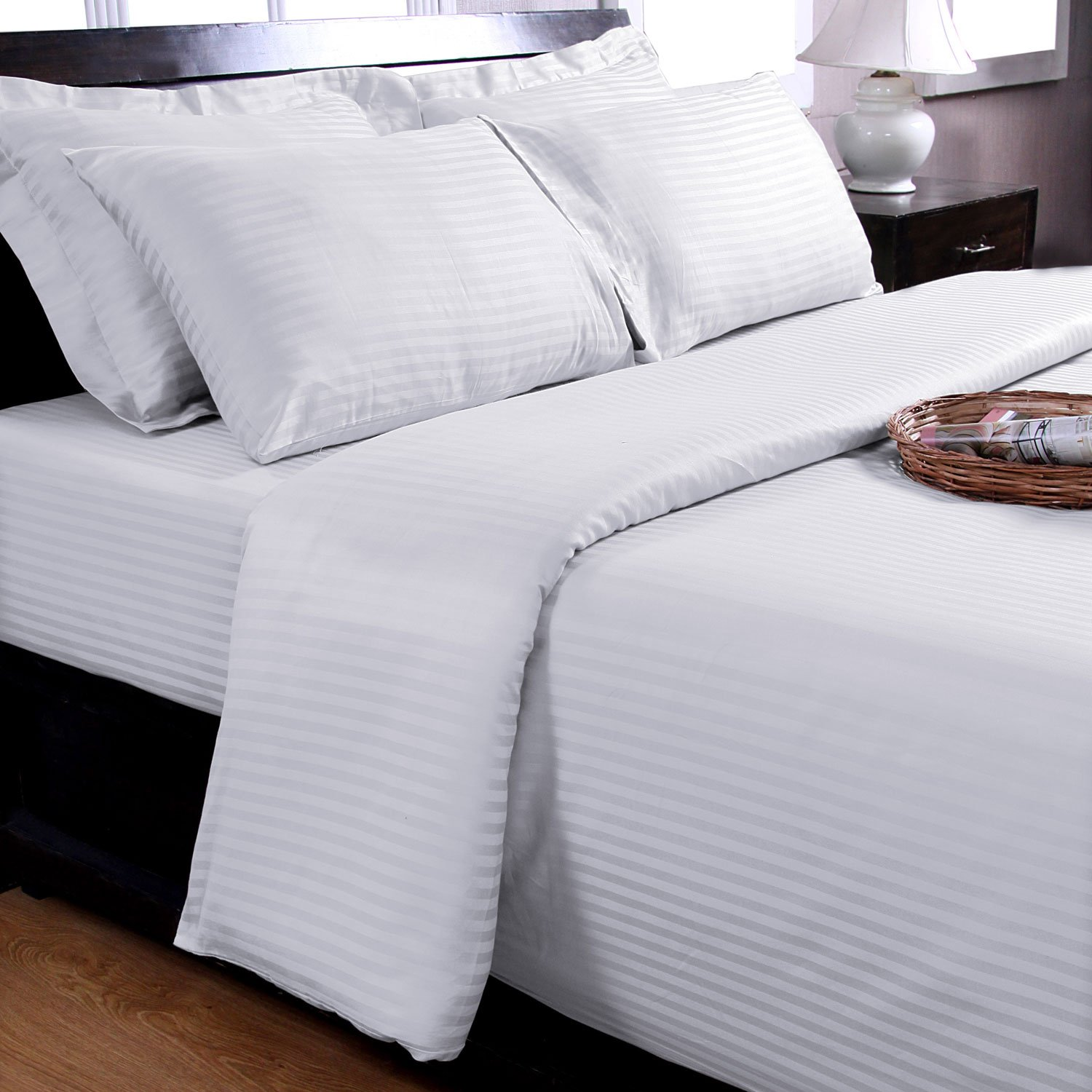 Homescapes 100% Egyptian Cotton Housewife Pillowcase Black Satin Stripe 330 Thread Count Percale Anti Dust Mite Others