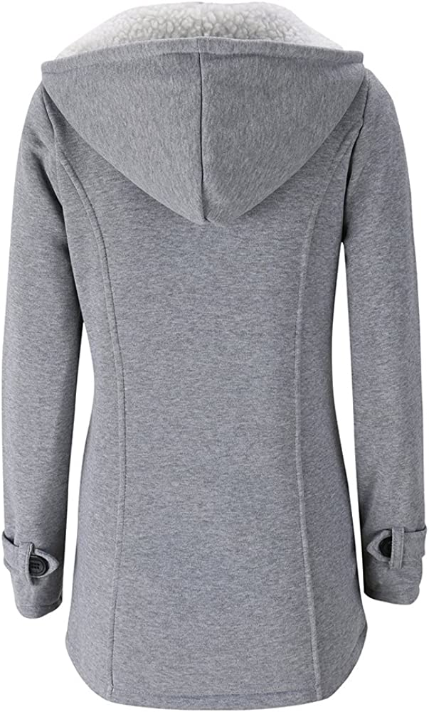 FANTIGO Women Hoodie Outerwear Winter Warm Single Breasted Trench Coat Casual Wool Blended Classic Hooded Zipped Pea Coat Jacket