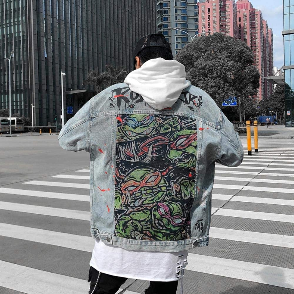 FHKGCD Veste en Jean Trou De Revers Mâle Surdimensionné Streetwear Lâche Graffiti Imprimé Jeans Veste Hip Hop Bomber Veste Bleu