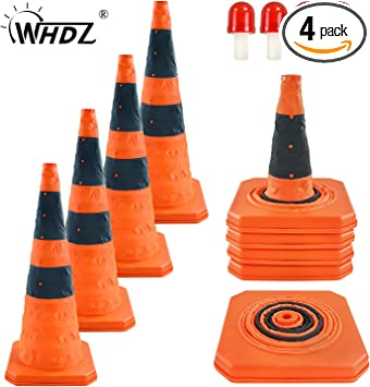 2 Pack 16 inch Traffic Cones Multi Purpose Pop up Reflective Safety Cone
