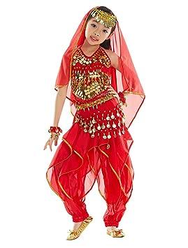 BELLYQUEEN Belly Dance Traje de Danza de Vientre Top Pantalones Baile India Niña 3-5 Años - Rojo