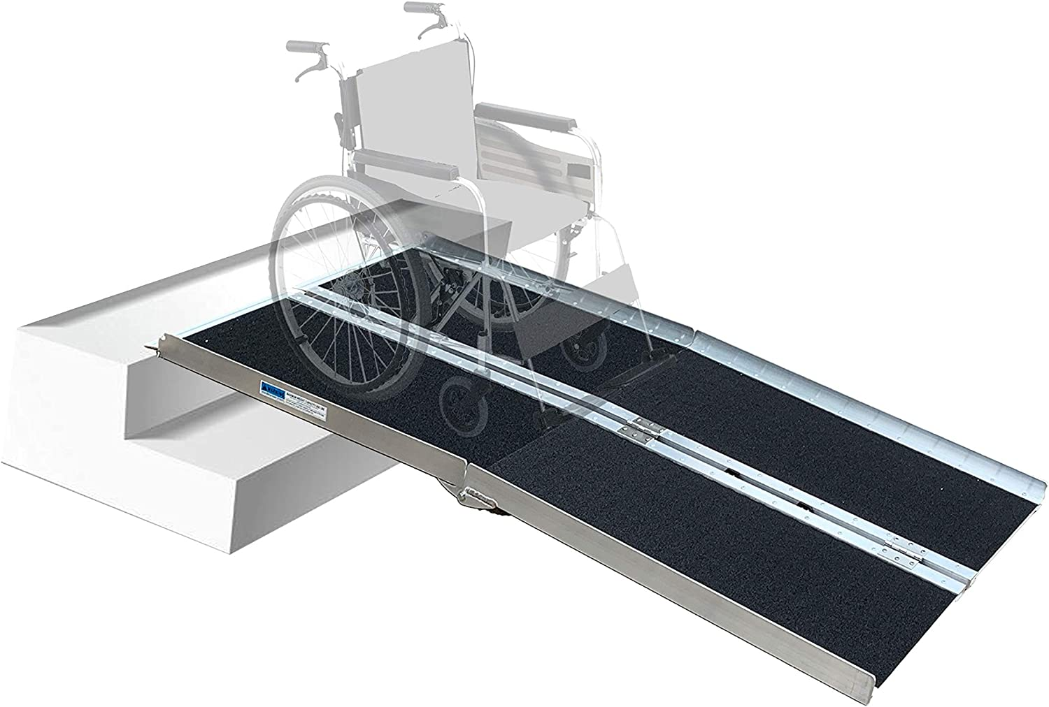 Hapelo Updated Single Fold Non-Skid Aluminum Scooter Mobility Wheelchair Ramp,6' Lightweight Portable, Holds Up 600 lbs