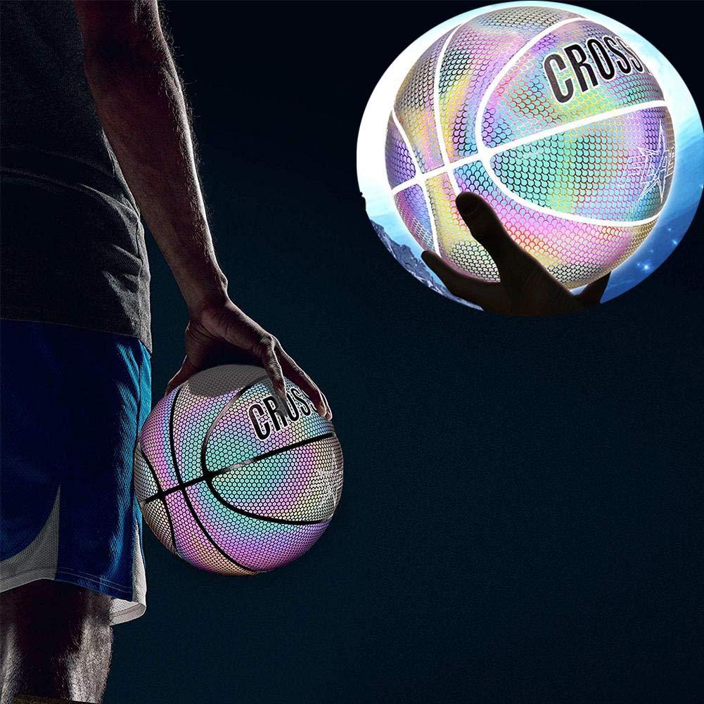 Pallacanestro Riflettente Incandescente Olografica Regalo Perfetto Pallone Luminoso Illuminante Per Videocamera Luminosa The Dark Basketballs Pallacanestro Illuminata Dimensione Ufficiale