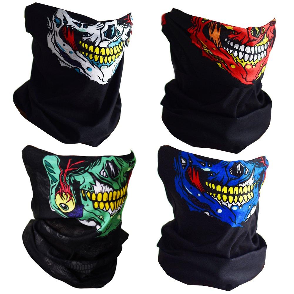 CIKIShield Couples Seamless Skull Face Tube Mask Black (4pcs-Color Set-N)