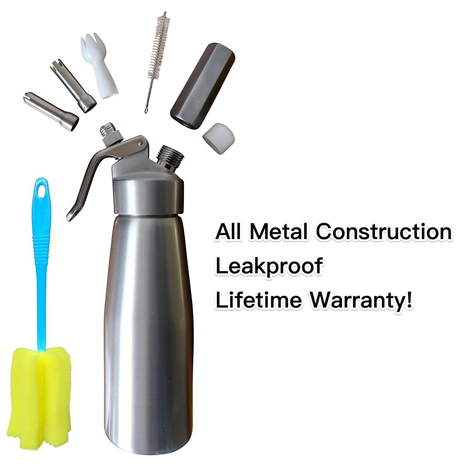 Whipped Cream Dispenser Cream Whipper Whipping Siphon Whip Cream Charger Seltzer Water Maker Aluminum 1 Pint Stainless Steel Tips Bonus Recipe Ebook Cleaning Brushes Animato Silver Nitro Cold Brew