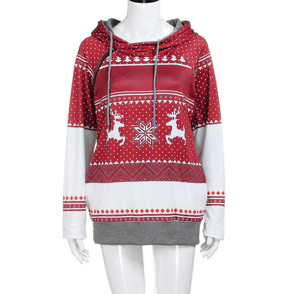 Amazon.com: SMALLE ◕‿◕ Clearance,Sweatshirt for Women,Christmas Zipper Dots Print Tops Hooded Sweatshirt Pullover Blouse T-Shirt: Clothing