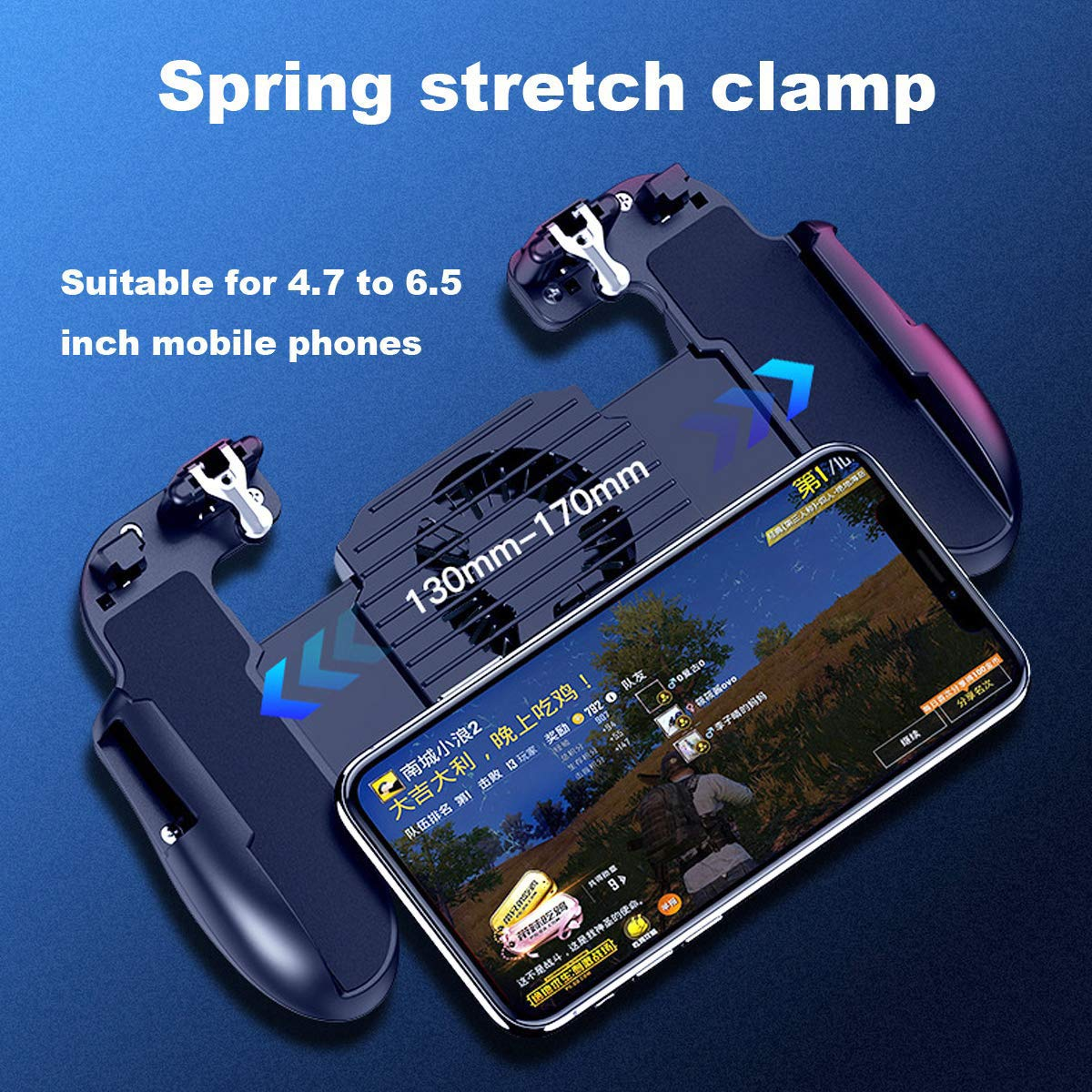 YZmoffer Portable Game Controller Mobile Game Trigger Cooling Fan Mobile Joystick Power Charger Gamepad, L1R1 Aim and Shoot Trigger Joystick Upgraded Version for iOS Android 4.5-6.5inch