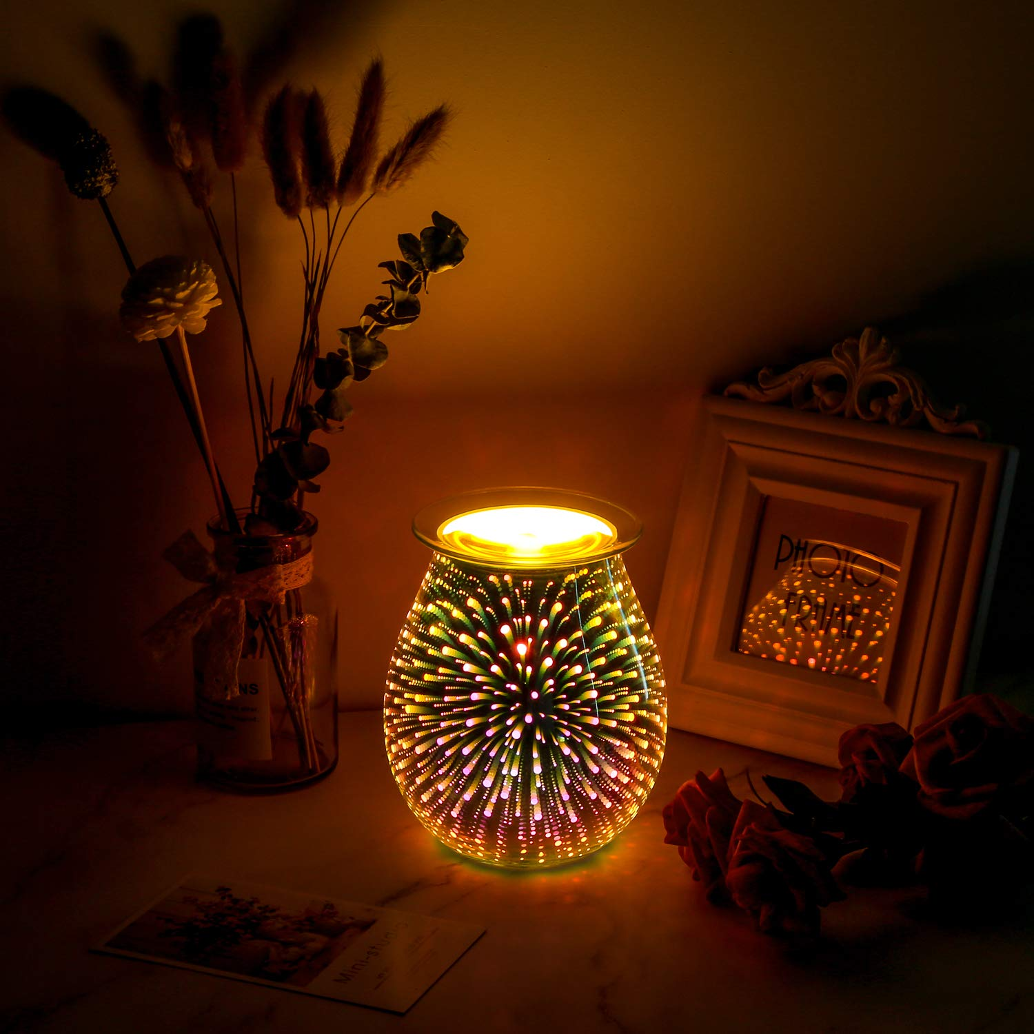 Electric Oil Warmer COOSA 3D Effect Starburst Fireworks Glass Wax Tart Burner Fragrance Candle Warmer Incense Oil Night Light Aroma Decorative Lamp for Gifts, Decor for Home Office by COOSA (Image #2)