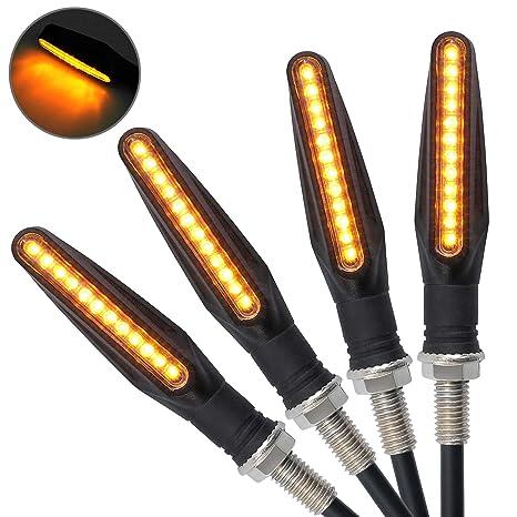 Justech 4 x Indicadores de Moto Luces de Señal de Giro Indicadores 12V 12 Bombillas LED