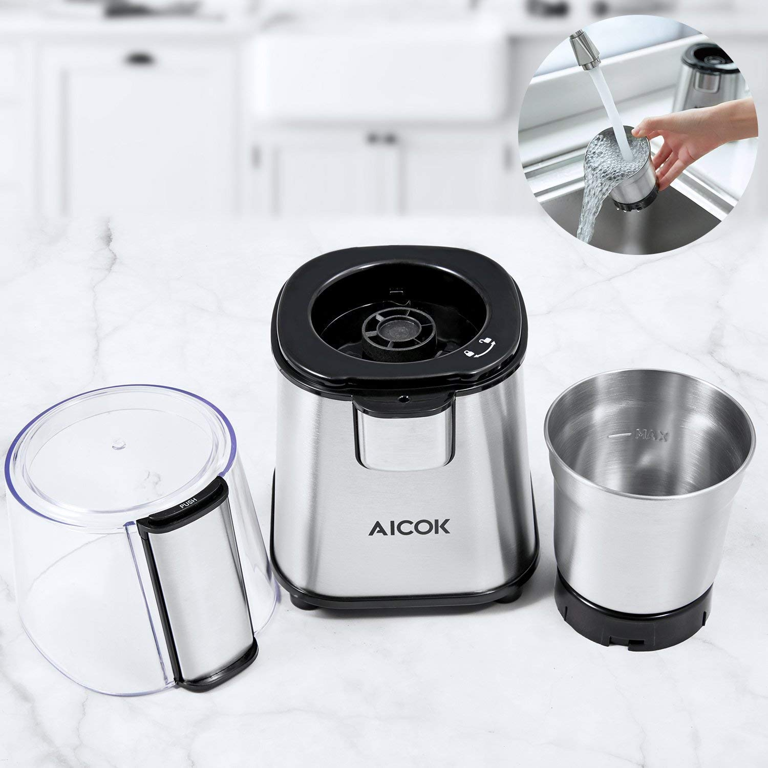 Spices Coffee Beans Grinder with Stainless Steel Blades for Fast Grinding Coffee Beans Nuts Grains Coffee Grinder AICOK Electric Coffee Grinder 12 Cup