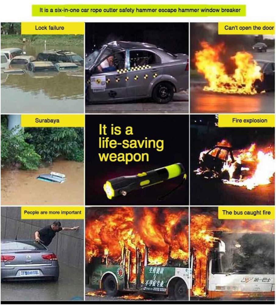 MTTLS Martillo De Emergencia 6 En 1Herramienta De Corte De Cinturón De Seguridad Sacudida De La Mano Flash Señal De Socorro Brújula Martillo De Escape ...