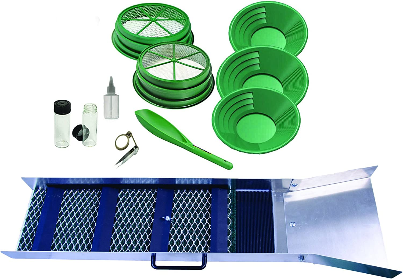 "Gold Sluice Box Mining Mini Aluminum Prospecting Small Panning Portable Pan 30/"""