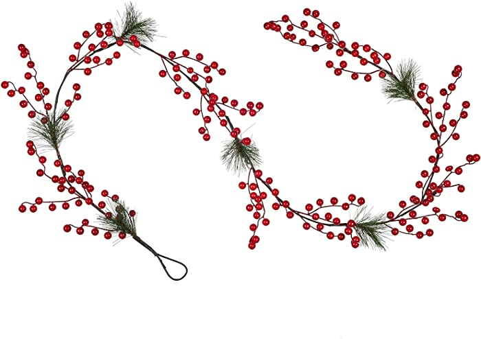 DearHouse 6FT Red Berry Christmas Garland with Garland Artificail Garland Indoor Outdoor Garden Gate Home Decoration Lights for Winter Holiday New Year Decor