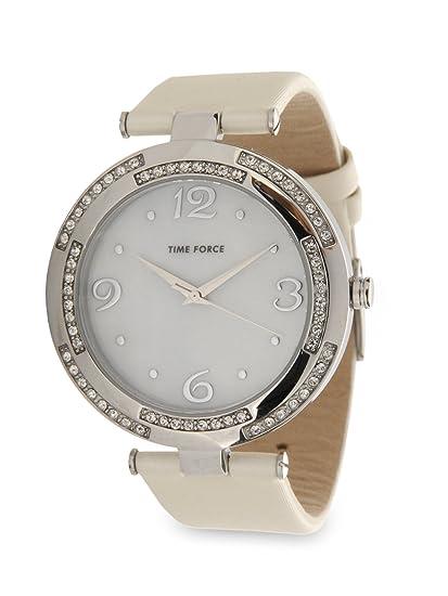 Time Force tf3320l02 - Reloj de Pulsera de Mujer, Correa de Piel Color Blanco: Amazon.es: Relojes