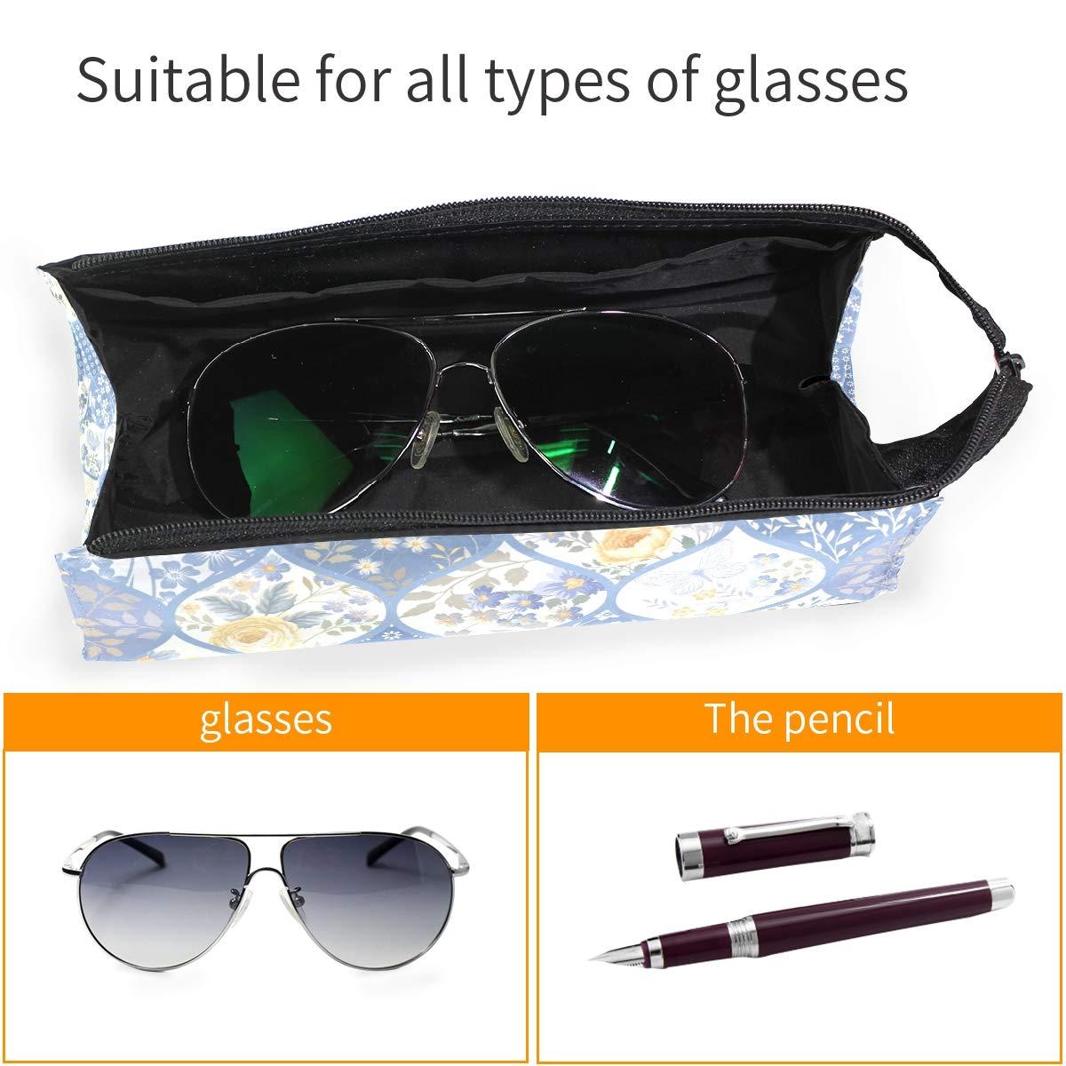 My Little Nest Eyeglass Sunglasses Holder Pouch Bag Butterfly Floral Multi Function Zipper Pen Case Pencil Bag Organizer