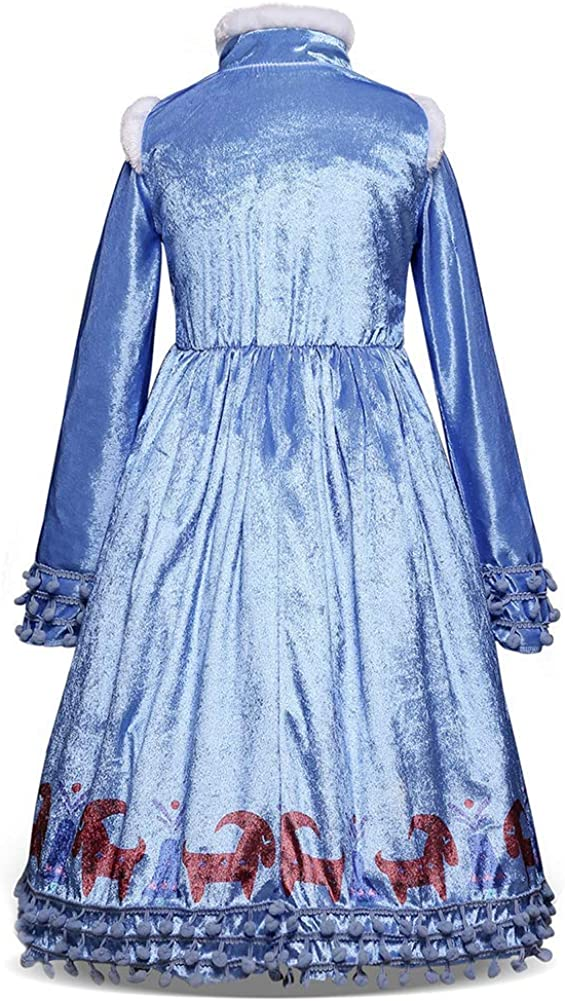 IWEMEK D/éguisement Reine des Neige Robe Princesse Anna Elsa Costume Frozen avec Longue Cape Enfant Fille Anniversaire No/ël Halloween Carnaval Cosplay F/ête Costume 2-8 Ans